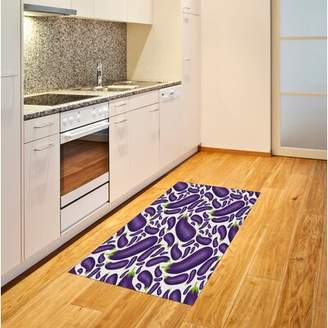 East Urban Home Ambesonne Eggplant Area Rug, Delicious Aubergines In Abstract Representaiton Fresh Dish Healty Food Vegetable, Flat Woven Accent Rug For Living Room B
