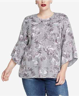 Rachel Roy Trendy Plus Size Bell-Sleeve Top