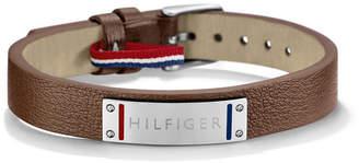 Tommy Hilfiger Men Silver and Leather Strap Bracelet