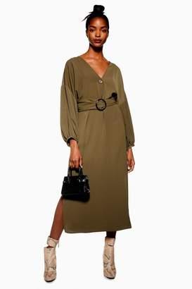 Topshop Horn Buckle Midi Dress