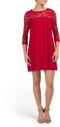 Juniors Lace Yoke Dress