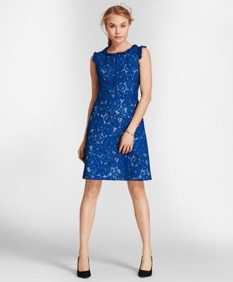 Brooks Brothers Ruffle-Trim Floral Lace Dress
