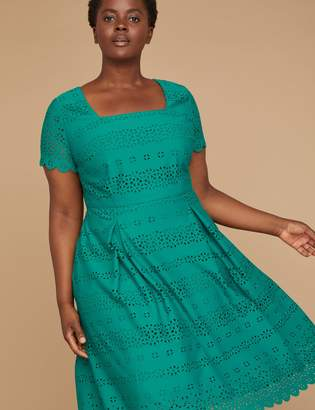 Lane Bryant Perforated Ponte Fit & Flare Dress