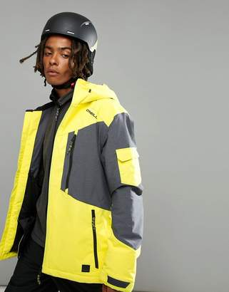 O'Neill Cue Ski Jacket in Neon Yellow