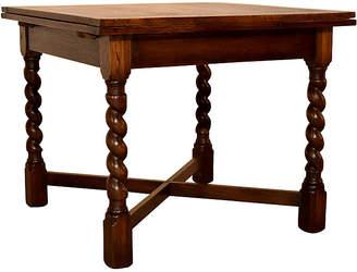 One Kings Lane Vintage Oak Drawleaf Table - c. 1900 - Black Sheep Antiques