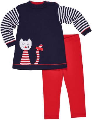 Florence Eiseman Knit Cat Intarsia Tunic w/ Matching Leggings, Size 2-6X