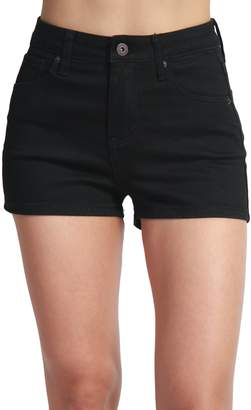 TheMogan Women's Vintage Destroyed Jean Cuffed Mid Rise Denim Shorts Dark L