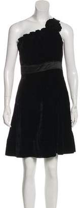 Phoebe Couture Velvet One-Shoulder Mini Dress w/ Tags
