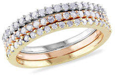 HBC CONCERTO 0.60TCW Diamond Triple Row Ring Set in Tri-Color Sterling Silver