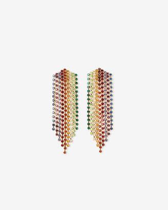 Express Rainbow Rhinestone Fringe Drop Earrings