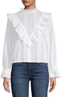 ENGLISH FACTORY Broderie Anglais Ruffle Top