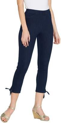 Isaac Mizrahi Live! Petite Knit Denim Crop Jeans with Tie Detail