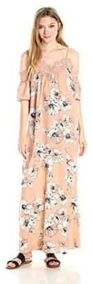Blu Pepper Women's Cold Shoulder Floral Print Maxi Dress