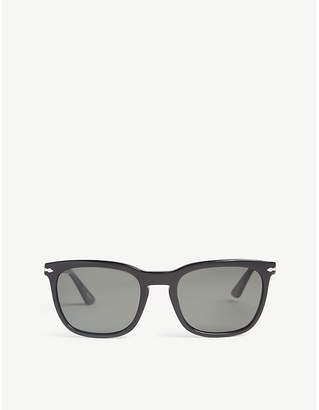 Persol Mens Black Classic Po3193 Square-Frame Sunglasses