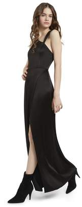 Alice + Olivia Pamela Leather Combo Slit Gown
