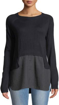 Neiman Marcus Twofer Flannel Combo Sweater