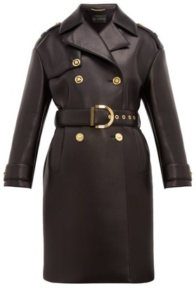Versace Leather Coated Neoprene Padded Trench Coat - Womens - Black