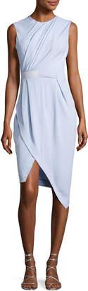 Carven Draped Half-Belt Dress, Light Blue