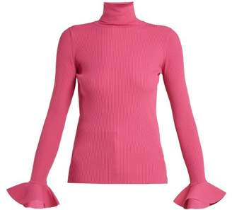Valentino Ribbed Knit Roll Neck Sweater - Womens - Pink