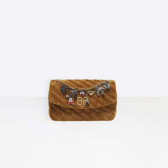 Balenciaga Small quilted velvet bag with chain strap