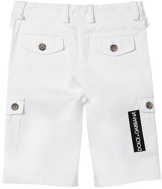 Dolce & Gabbana Logo Tag Cotton Gabardine Shorts