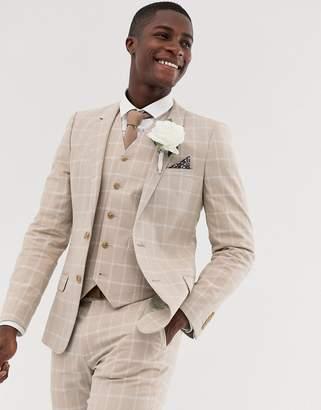 d44b8fa557e1b0 Asos Design DESIGN wedding skinny suit jacket in camel linen windowpane  check