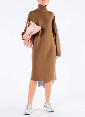 Tibi Luxe Merino Wool Cotton Back Shirtdress