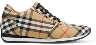 Burberry Leather-trimmed Checked Canvas Sneakers - Beige