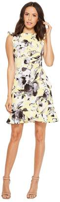 Donna Morgan Sleeveless Printed Crepe with Ruffle Skirt Women's Dress
