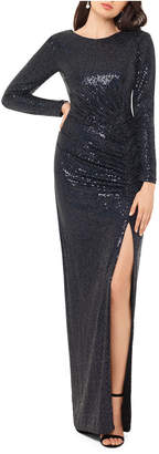 Xscape Evenings Long-Sleeve Sequined Gown