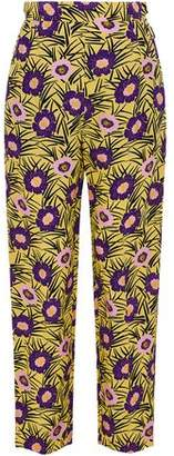 Marni Cropped Printed Cotton-Crepe Tapered Pants