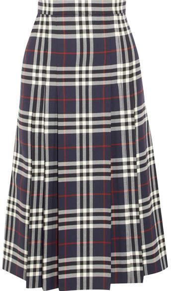 Burberry - Pleated Checked Wool Midi Skirt - Navy
