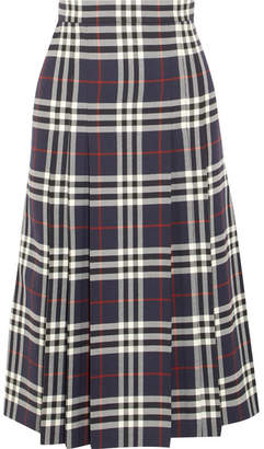 Burberry Pleated Checked Wool Midi Skirt - Navy