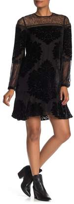 Hale Bob Augusta Long Sleeve Silk Blend Velvet Floral Applique Lace Inset Dress