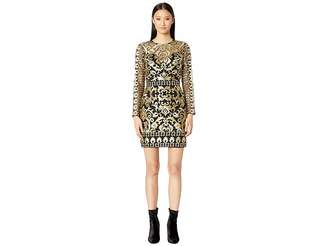 Nicole Miller Scroll Embroidery Long Sleeve Illusion Dress