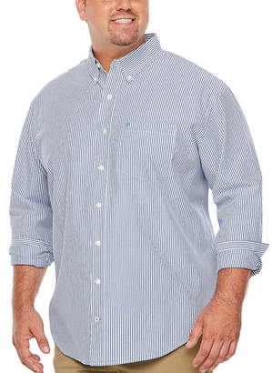 Izod Premium Essential Wovens Long Sleeve Checked Button-Front Shirt-Big and Tall