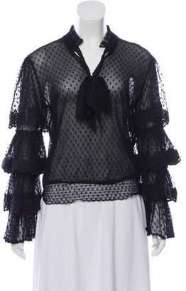 MISA Los Angeles Black Tiered Sleeve Sheer Blouse with Sash Neck Tie