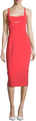 Narciso Rodriguez Square-Neck Bodice-Slice Sheath Scuba Dress