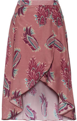 Vix Birds June Printed Cotton And Silk-blend Wrap Skirt - Plum