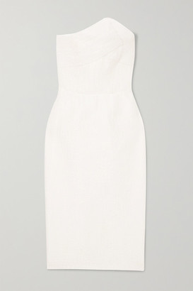 Roland Mouret Senga Strapless Cloqué Dress - White