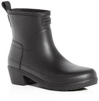 Hunter Women's Refined Matte Block-Heel Rain Booties