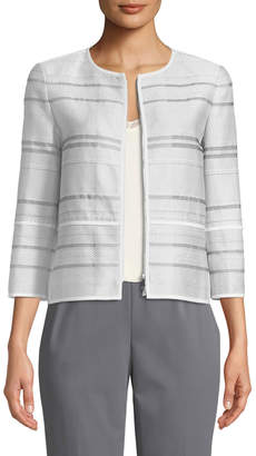 Lafayette 148 New York Tilda Translucent Striped Cropped Jacket