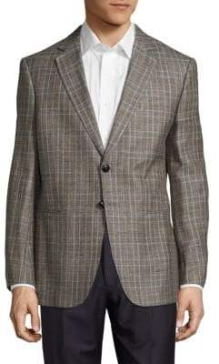 Giorgio Armani Plaid Long-Sleeve Jacket