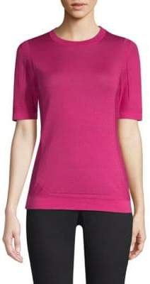 Escada Sudona Perforated Virgin Wool& Silk Knit Tee