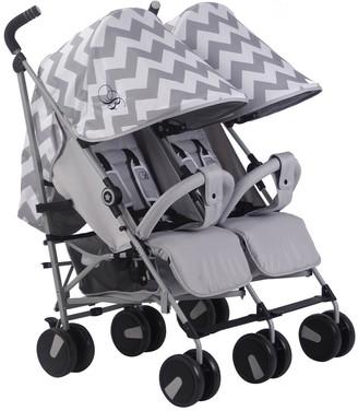Baby Essentials My Babiie My Babiie Billie Faiers MB22 Grey Chevron Twin Stroller