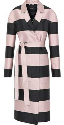 Rochas Belted Striped Satin-Faille Coat