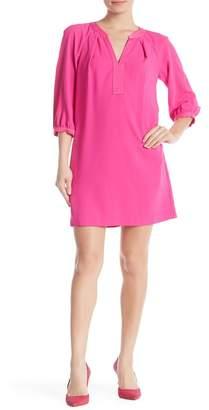 Trina Turk Pipkin Split Neck 3/4 Sleeve Dress