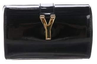 Saint Laurent Logo Embellished Patent Leather Clutch