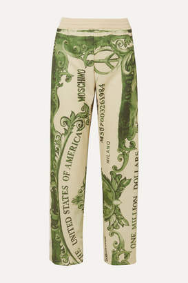 Moschino Printed Satin-jersey Track Pants - Green