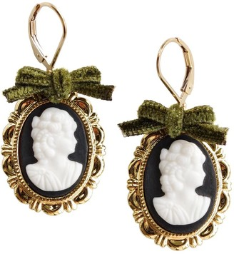 Poporcelain Dark Romance Goddess Oval Porcelain Cameo Earrings